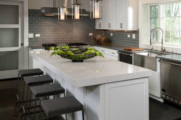 Bianco River Silestone Kitchen Countertop