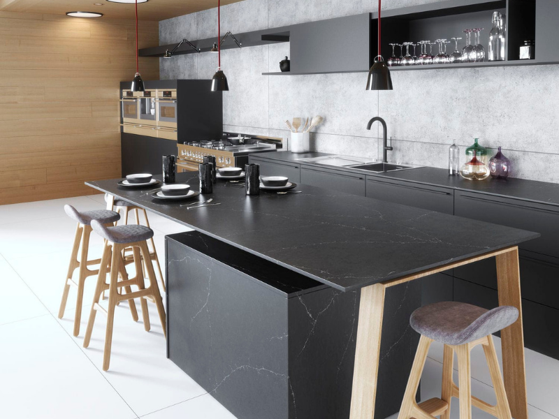 Silestone countertop black