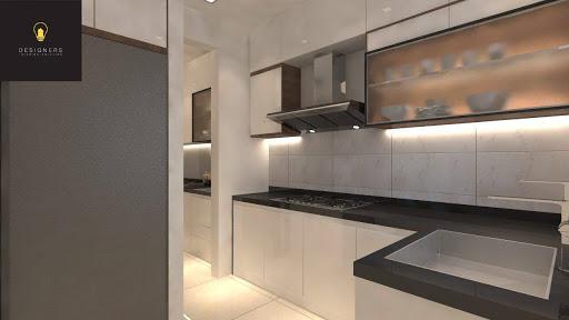 Monochrome kitchen cabinets