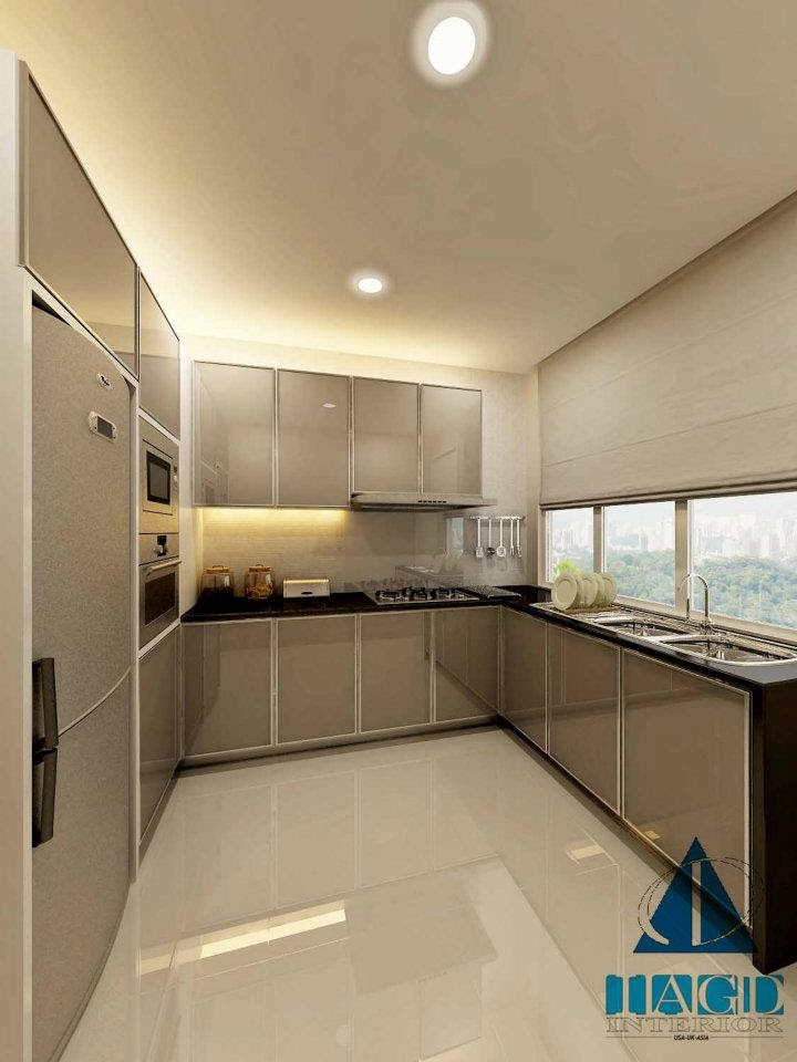 Neutral beige for small kitchen